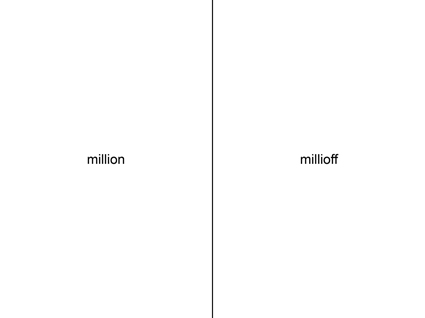 marc mer: million millioff, wortwerk, 19798.1, 2015 // copyright: marc mer | vg bild-kunst | vg wort